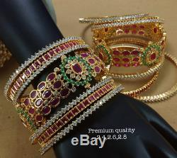 Indian Bridal Bollywood Cz 14 Bangles Ad Set Ruby Emerald Stone Gold Look Plated