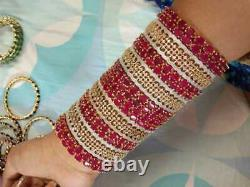 Indian CZ AD Jewelry Gold Plated Bangle Bracelet Red Set Bollywood Bangles