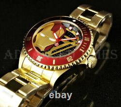 Invicta 44mm Marvel IRON MAN Limited Edition Red Bezel 18K Gold Plated Watch NEW