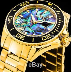 Invicta 48mm Mens Pro Diver Blue Abalone Dial 18K Gold Plated SS Bracelet Watch
