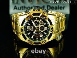 Invicta 50mm Men PRO DIVER SCUBA Chrono Black Carbon Fiber 18K Gold Plated Watch