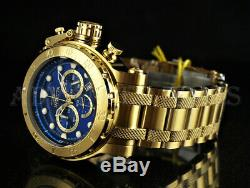 Invicta 52mm Coalition Forces Chronograph Blue Dial 18K Gold Plated SS Watch NEW