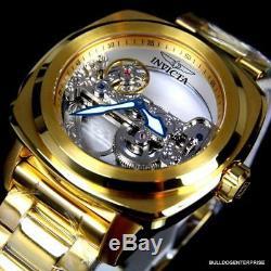Invicta Aviator Ghost Bridge Mechanical Skeleton 18kt Gold Plated 48mm Watch New