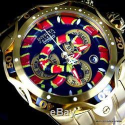 Invicta King Venom III Cobra Swiss Mvt Chronograph 52mm Gold Plated Watch New