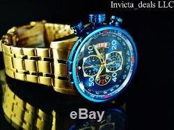 Invicta Men 48mm Aviator Chronograph Blue Dial 18K Gold Plated SS Bracelet Watch