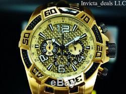 Invicta Men 50mm Pro Diver SCUBA Chrono Gold Carbon Fiber 18K Gold Plated Watch