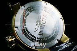 Invicta Men 52MM Grand Pro Diver 18K Gold Plated Blak Dial SS Black Strap Watch