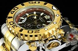 Invicta Men 70mm Full Sea Hunter Brown Swiss Two Tone Gold Silver Plated Watch