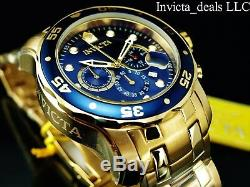 Invicta Men's 48mm Pro Diver Scuba Chronograph 18KT Gold Plated Blue Dial Watch