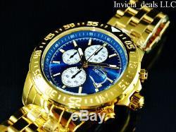 Invicta Men's Aviator Maverick FLIGHT Chrono Blue Dial 18K Gold Plated SS Watch