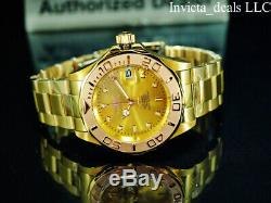 Invicta Men's PRO DIVER AUTOMATIC NH35A Gold Dial 18K Gold Plated SS 200M Watch