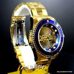 Invicta Pro Diver Ghost Bridge 47mm Gold Plated Steel Mechanical Blue Watch New