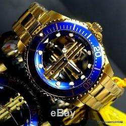 Invicta Pro Diver Ghost Bridge Mechanical Gold Plated Skeleton Blue Watch New