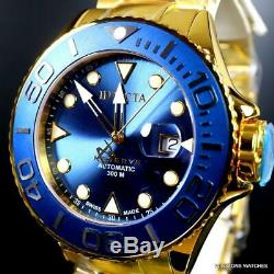 Invicta Reserve Grand Diver Swiss Made Automatic Gold Plated 50mm Blue Watch New