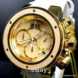 Invicta Reserve Subaqua Sea Dragon Brown Wood Gold Plated White 52mm Watch New