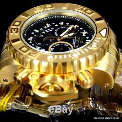 Invicta Sea Hunter Gen II 70mm 18k Gold Plated Chronograph Swiss Black Watch New
