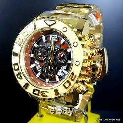 Invicta Sea Hunter Gen II Swiss High Polished Gold Plated 70mm Brown Watch New