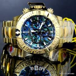 Invicta Subaqua Noma II Abalone Swiss Mvt 47mm 18kt Gold Plated Steel Watch New