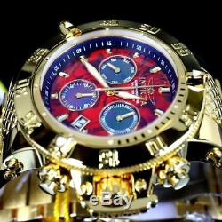 Invicta Subaqua Noma III Red Abalone MOP 50mm High Polish Gold Plated Watch New
