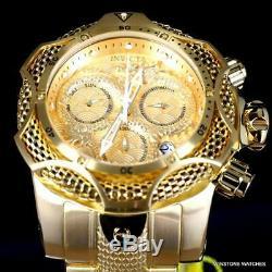 Invicta Venom Dragon Scale Swiss Chronograph Steel 52mm Gold Plated Watch New
