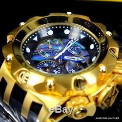 Invicta Venom Hybrid Abalone Chronograph 54mm 18kt Gold Plated Black Watch New