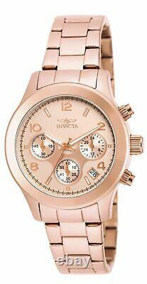 Invicta Women's Watch Plated Stainless Steel Case Rose Gold Dial Bracelet 19218