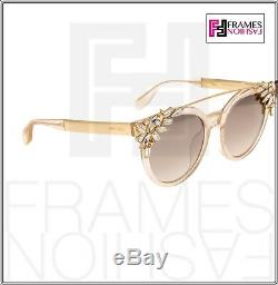 JIMMY CHOO VIVY 20th Nude Glitter Rose Mirrored Detachable Jewel GOLD PLATED Sun
