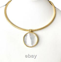 Julie Vos Valencia 24k Gold Plated Reversible Mop Coin Choker Necklace