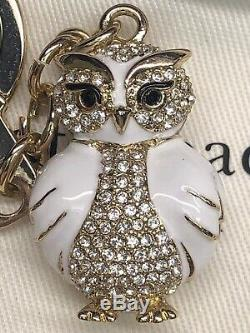 KATE SPADE 12K Gold Plated Jeweled Owl Keychain Key Fob Bag Charm Gold /White