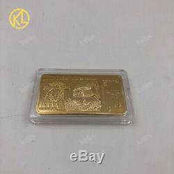 KL 270pcs Gold plated $100 Trillion Zimbabwe Metal Bar wooden box set with COA