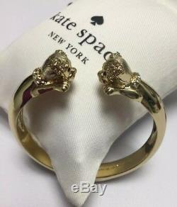Kate Spade New York 12 K Gold Plated Puppy Dog Hinged Cuff withKS Dust Bag New