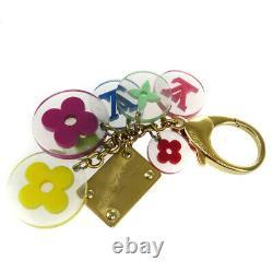 LOUIS VUITTON LV Logos Bag Charm Key Ring Monogram Plastic Gold Plated 67BU189