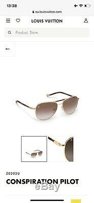 LOUIS VUITTON Sunglasses Z0202U Conspiracy Damier Canvas x Gold Plated 58 15