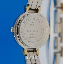 Ladies Movado Harmony 18K Gold plated & SS bangle watch Black Dial Diamonds