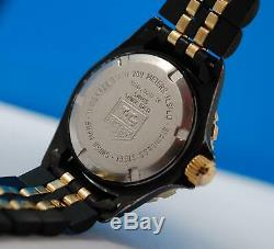 Ladies Tag Heuer 1000 2-tone 18K Gold plate & PVD watch Black Dial