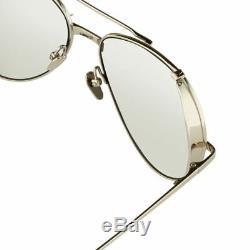 Linda Farrow 426 8 Luxury Sunglasses. Aviator Matte 23K White Gold Plated 58mm