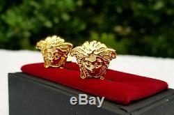 Medusa Versace Cufflinks Gold Plated Jewelry Mens Fashion Brass Metal Cuff Link