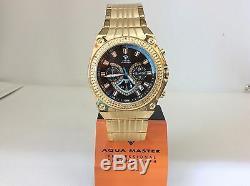 Men Aqua Master Jojo Jojino Joe Rodeo Yellow Metal Band 46mm Diamond Watch W#304