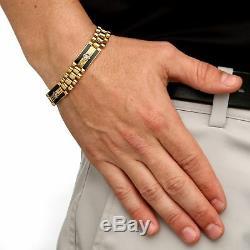 Men's 1.48 TCW CZ Onyx 14k Gold-Plated Panther-Link Bracelet