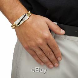 Men's 1.70 TCW Genuine Onyx and CZ 14k Gold-Plated Bracelet 8