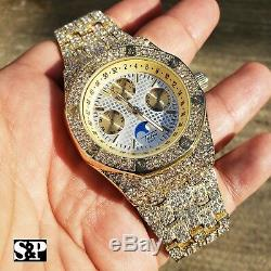 Men's Gold Plated Iced Luxury Quavo Rapper's Metal Band Dress Clubbing Watch