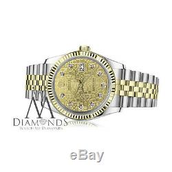 Men's Rolex 36mm Datejust 2 Tone Diamond Dial with Champagne Gold Jubilee Metal