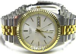 Mens Citizen President Calendar Day Date Gold Plated & SS Dress watch # 6100