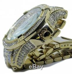 Mens Hip Hop Gold PT Quavo Iced Techno Pave Bling Rapper's Metal Band Watch