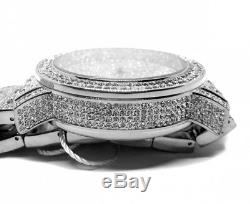 Mens Luxury Iced Bling Hip Hop White Gold PT Lab Diamonds Bust Down Metal Watch