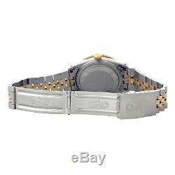 Mens Rolex Watch Datejust 16013 18k Gold Steel Green Black Dial Diamond Emeralds
