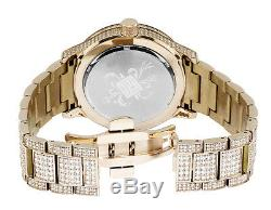 Mens Rose Gold Plated Steel Jewelry Unlimited 45MM Simulated Diamond Watch