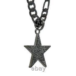Mens Star Pendant on Hematite Plated 24 Gun Metal Figaro Chain Necklace Chain
