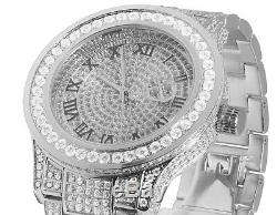 Mens White Gold Plated Steel Jewelry Unlimited 45MM Simulated Diamond Watch