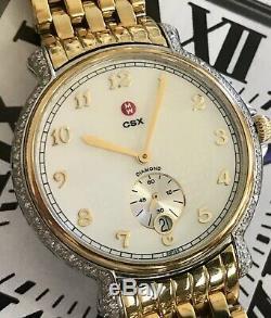 Michele CSX 94 Diamond 0.55CT TW Ladies18kt Gold Plate SS Watch w Box&Tags MINT